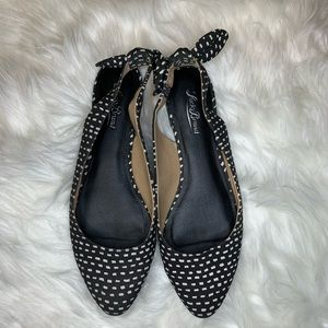 Lucky Brand polka dot flats with tie back bow